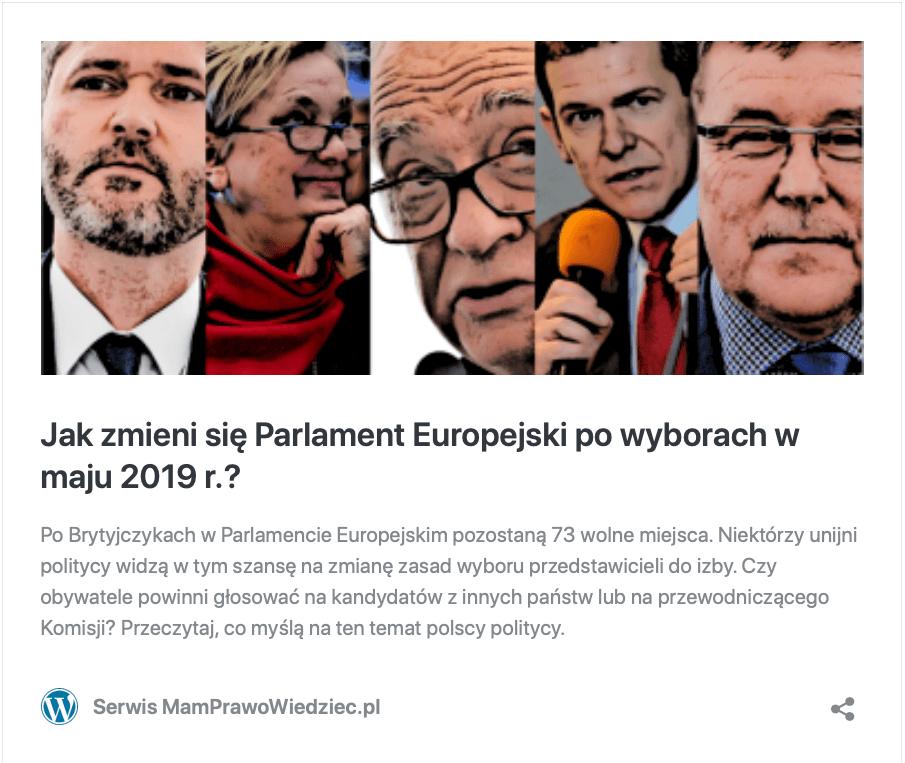 parlament Europejski powyborach wmaju 2019